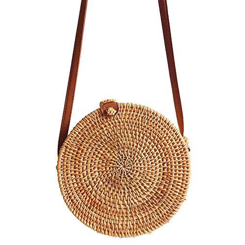 Handwoven Round Crossbody Natural Chic Khaki Hand Shoulder certainPL Leather Rattan Bag Straps Khaki OdvSOWgqZ