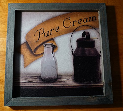 Pure Cream Milk Jug Dairy Glass Bottle Painting Print Kitchen Sign Home Decor