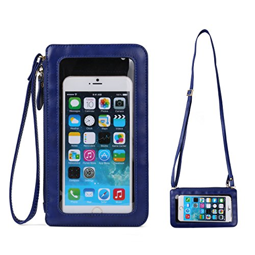 PU Leather Touch Screen Crossbody Bag for Samsung Galaxy Note 8 / S8+ / S8 Active / Note FE / J7 Max / C7 Pro / Sony Xperia XA1 Ultra / XZ Premium / Motorola Moto G5s G5 Plus / X4 / Z2 Play (Blue)