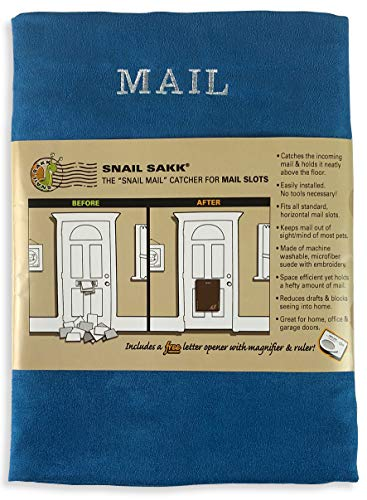 SNAIL SAKK: Mail Catcher For Mail Slots - BLUE. No more mail on the floor! Plus many other benefits! ()