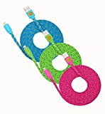 3 Pack 10ft Durable Hi-Speed Braided Flat Noodle Lightning USB SYNC Cable Charger Cord for iPhone 6, 6 Plus, 5, 5C, 5S, iPad 4, iPad Mini, Ipad Air, iPod Touch 5th Gen, iPod Nano 7th Gen, Support Latest IOS, 8-pin to USB - (blue, green, htpink)
