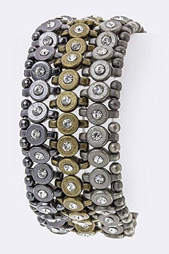 Chic Chelsea 3 Row Stretch Tri-Tone Bracelet