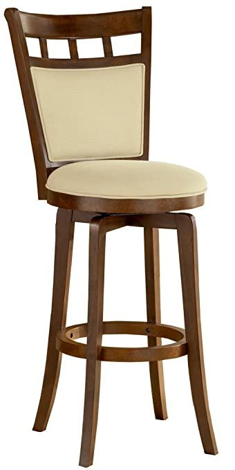 wood swivel counter stools with arms height canada back inch stool cushion brown cherry finish
