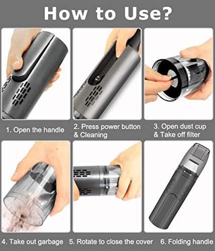 YEATOP aspirateur Voiture,Un Mini aspirateur sans Fil Multifonction pour Voiture est utilisé pour éliminer la poussière dans Le Bureau à Domicile de la Voiture