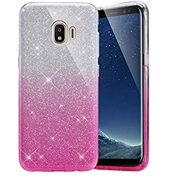 Vinnx Gradient Bling Glitter Sparkle Back Cover For Samsung Galaxy J2 2018   Transparent Pink Cases   Covers