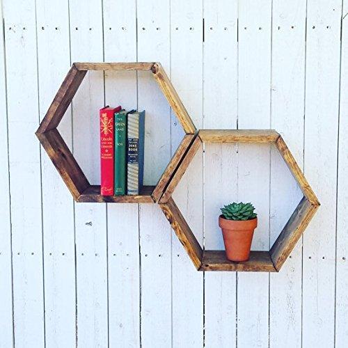 Amazon Com Wood Honeycomb Shelf Rustic Wood Hexagon Floating