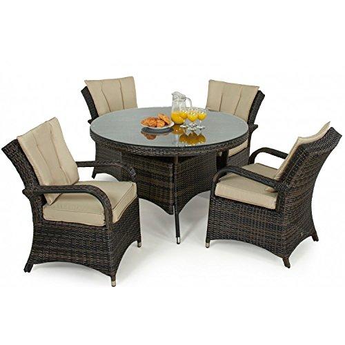 Tyler Rattan Gartenmöbel braun 4-Sitzer-Tisch rund Set online kaufen