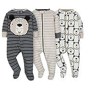 Gerber Onesies Baby Boy Sleep N Play Sleepers 3 Pack (3-6 Months, Gray Bears)