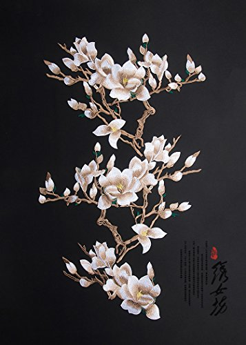 White Silk Cloth (Pack of 3 Very Large Flower Applique Plum Blossom Sewn On Patches Embroidered Garment DIY Accessory (White))