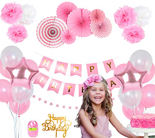 Pink Birthday Party Decoration Set - Happy Birthday Banner, Pink Paper Fans, Star Paper Garland, Colorful Balloons, Tissue Pompoms, Cake Topper - 27-Piece Girls Birthday Party Decor Supply Kit -
