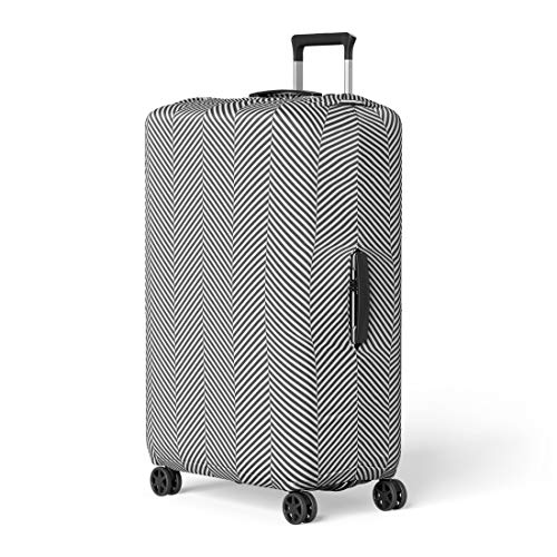- Pinbeam Luggage Cover Pattern Black and White Slim Perfect Op Herringbone Travel Suitcase Cover Protector Baggage Case Fits 22-24 inches