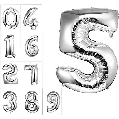 Takefubs 40 Inch Giant Jumbo Helium Foil Mylar Balloons Single Silver Alphabet Aluminum Hang Letter Balloons For Birthday Party Decorations,Glossy Silver,Letter 5