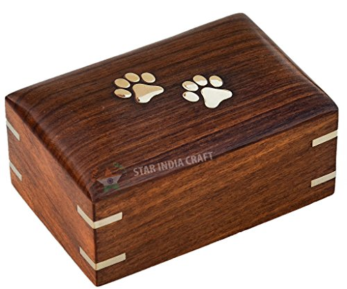 STAR INDIA CRAFT Paws Inlaid Rosewood Decorative Urns for Ashes-Large Cremation Urns for Dogs, Pet Urns for Cats, Wooden Cremation Box, Keepsake Urns for Burial(5 x 3 x 2.5 inches) 14 Cu/in