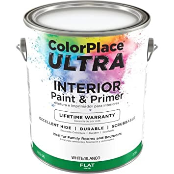 Color Place Ultra Flat Interior White Paint And Primer, 1 Gal