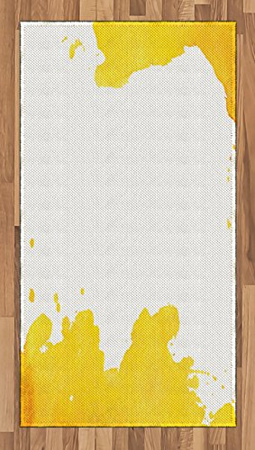 Cheap  Ambesonne Vintage Yellow Area Rug, White Background with Grunge Looking Watercolor Stains..