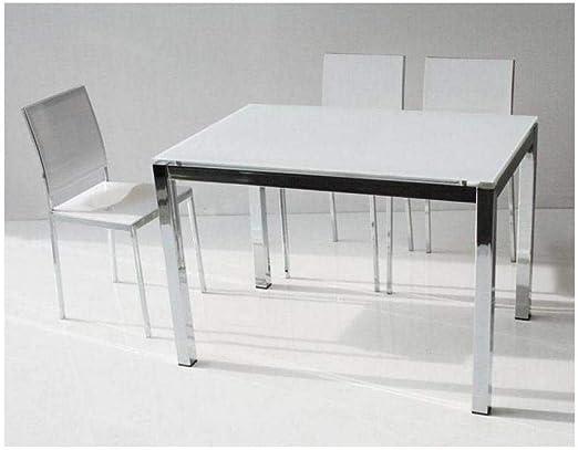 Mesa Comedor Extensible 130 x 80 cm Majestic en Aluminio Cromo y ...