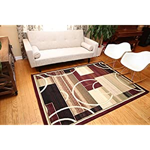 Generations Brand New Contemporary Reds Burgundy Modern Square and Circles Area Rug
