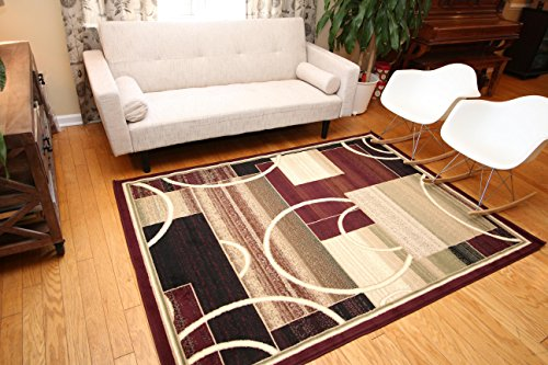 Generations Brand New Contemporary Modern Square and Circles Area Rug, 9' x 12', Red/Burgundy