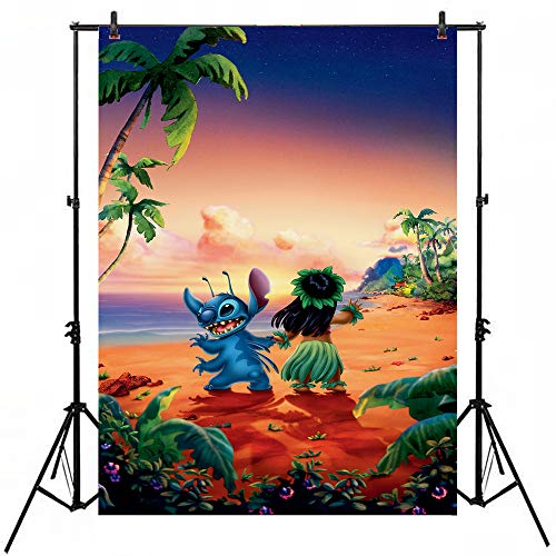 Lilo and Stitch Birthday Party Decorations Backdrop 7x5ft Vinyl Background Tropical Beach Hawaii Style Cartoon Photography Backgrounds Newborn Custom Baby Birthday Banner -