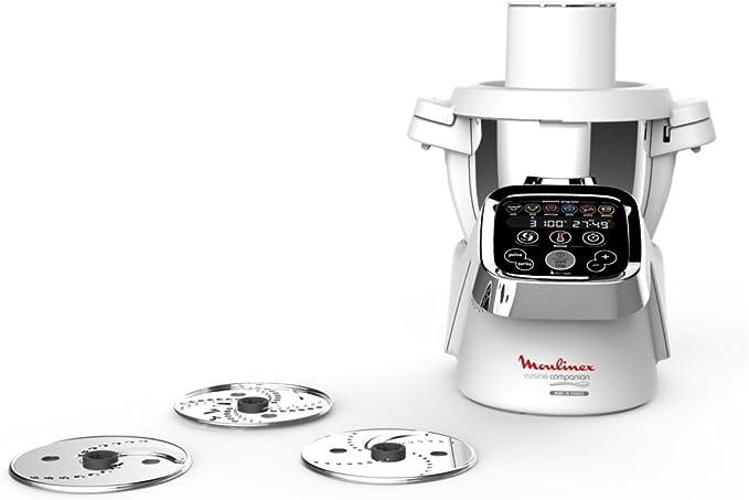 Moulinex Accesorios XF383110 - Accesorio cortador de 3 discos, eje rotación, tapa con doble tubo, color blanco para Cuisine Companion y Cuisine iCompanion, fácil de guardar: Amazon.es: Hogar