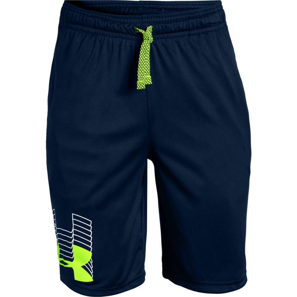 Under Armour boys Prototype Logo Shorts, Academy (410)/High-Vis Yellow, Youth X-Small
