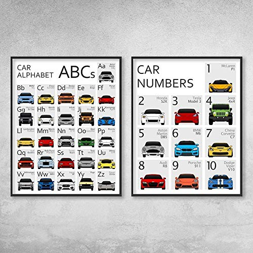 Car Nursery ABC Alphabet and 123 Numbers Poster Print Wall Art Set for Babies and Kids (Posters cover A to Z and 1 to 10