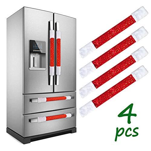 LimBridge Christmas Refrigerator Door Handle Cover, Set of 4 Star Plush Cover, for Double Door Fridge, Kitchen Microwave…