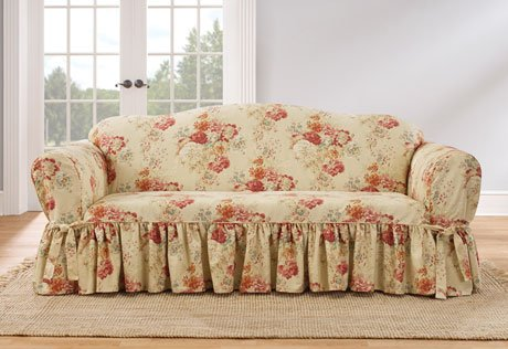 Ballad Bouquet Waverly One Piece Sofa Slipcover Blush