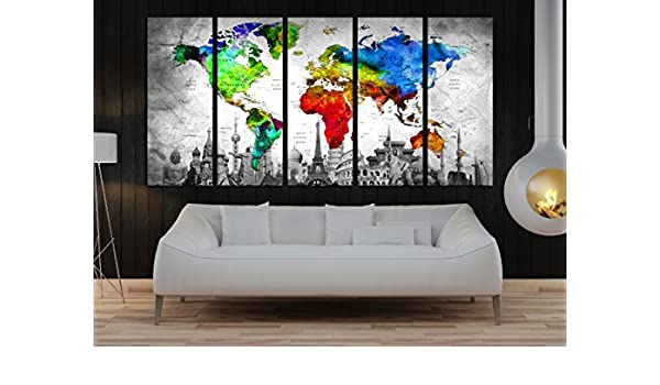 Amazon.com: large wall art canvas set for office, Push Pin ...