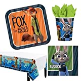 Zootopia Party Tablecover , Plates, Napkins, Cups