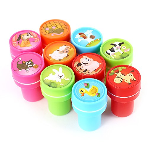 10pcs Assorted Farm Animals Stamps Kids Party Favors Event Supplies for Birthday Party Gift Toys Boy Girl Pinata Fillers