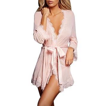 Batas de Kimono para Mujer Camisón de satén Color Puro Bata Elegante Kimono Bata Correa Camisón Loungewear: Amazon.es: Hogar