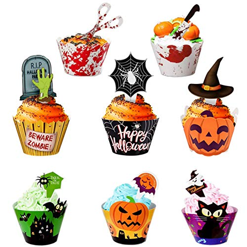 Antner Halloween Cupcake Topper Wrappers Halloween Party Cupcake Decor Food Picks, 48 Pieces