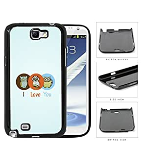 Three Cute Owls in Brown/Orange/Blue Circle I Love You Sign with Light Blue Background Samsung Galaxy Note II 2 N7100 Hard Snap on Plastic Cell Phone Case Cover