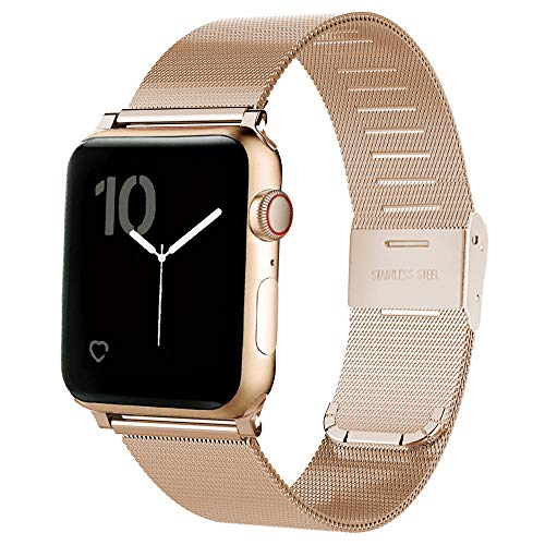 MAIRUI Compatible with Apple Watch Band Milanese Loop 40mm, Stainless Steel Mesh Bracelet Accessories for iWatch Series 4 (Rose Gold) ()