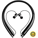 Wireless Headphones, Bluenin Bluetooth Headphones Wireless for Running, Retractable Bluetooth Headset with HD Stereo, Vibrating Call Alert and CVC 6.0 Noise Cancelling, Black