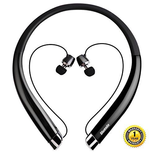 Wireless Headphones, Bluenin Bluetooth Headphones Wireless Running, Retractable Bluetooth Headset HD Stereo, Vibrating Call Alert CVC 6.0 Noise Cancelling, Black