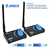 OREI Wireless HDMI Transmitter Receiver Extender 1080P Kit With IR Remote - Up to 165 Ft - 5 Ghz Frequency - Perfect for Streaming from Laptop, PC, Cable, Netflix, Youtube, PS4 to HDTV/Projector