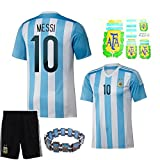 (US) Messi Argentina Home Soccer Jersey #10 Size Youth Large Fit Age 9-12