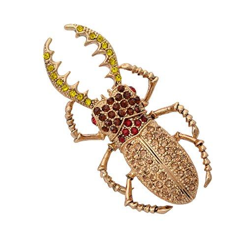 OBONNIE Women CZ Rhinestone Crystal Vintage 18K God Tone Insect Beetle Bug Brooch Pin (Vintage Brooch 18k)