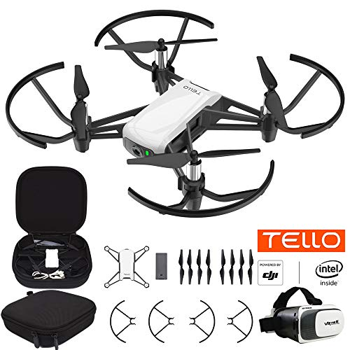 (Tello Quadcopter Drone with HD Camera and VR Powered by DJI Technology Starter Bundle with Carry Case and VR Goggles Headset)