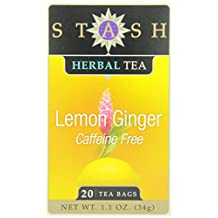 Stash Tea Lemon Ginger Herbal Tea, 20 Tea Bags (Pack of 6)