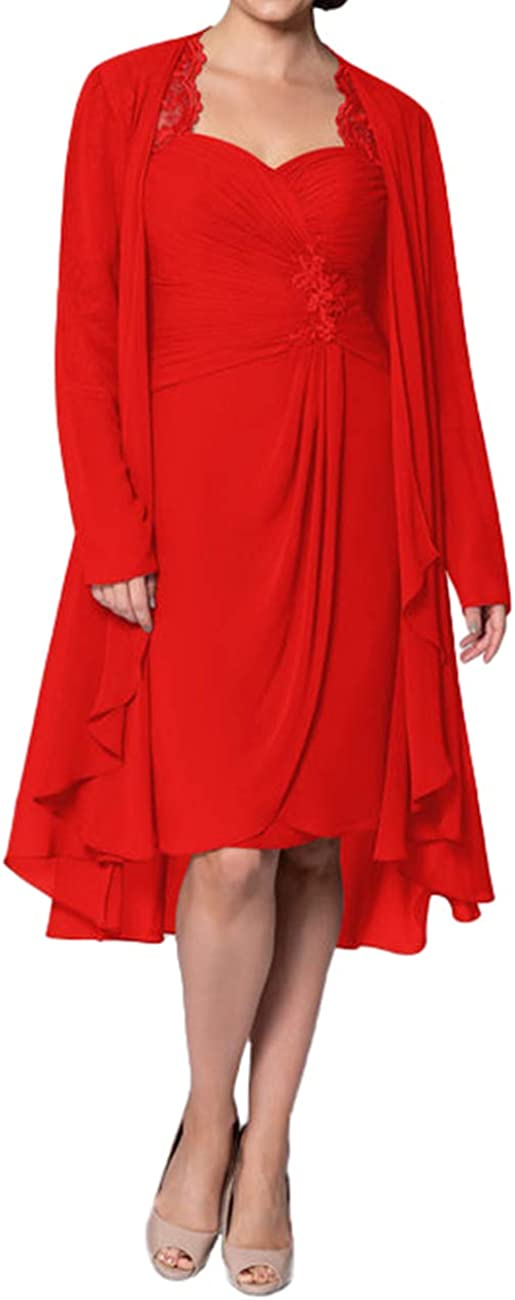 Mother of The Bride Dresses with Jacket Knee Length Formal Evening Gowns for Wedding