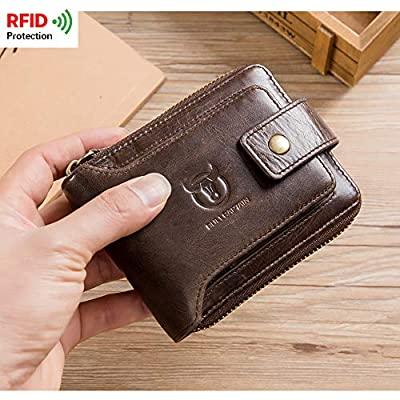 BULLCAPTAIN Genuine Leather Wallet for Men Large Capacity ID Window Card Case with Zip Coin Pocket QB-231