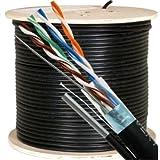 Vertical Cable Cat5e, 350 Mhz, Shielded, UV Jacket, Outdoor, CMX, Messenger, 1000ft, Black, Bulk Ethernet Cable, Wooden Spool