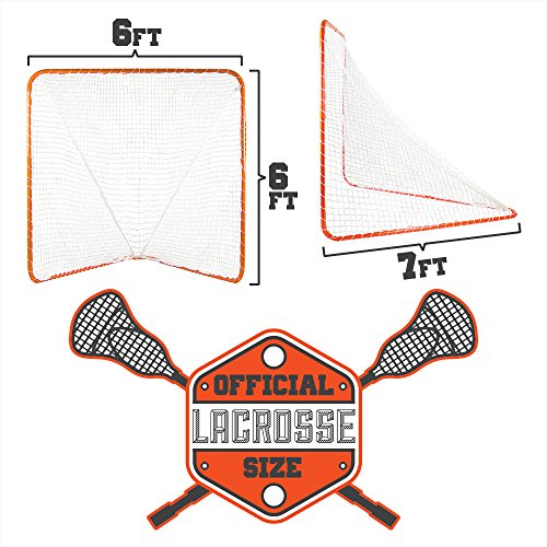 Portable Official Size Orange Lacrosse Goal - Large 6 x 6 x 7 Foot Size! by Brybelly (Image #3)