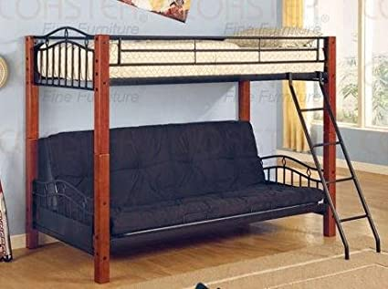 coaster furniture twin over futon bunk bed in black haskell co2249 amazon    coaster furniture twin over futon bunk bed in black      rh   amazon
