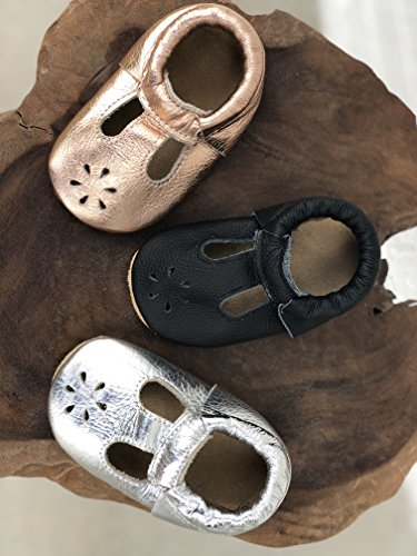 Lucky Love Baby & Toddler Soft Sole Prewalker Skid Resistant Boys & Girls Shoes (6-12 Months, T-Strap Rose Gold) by Lucky Love (Image #4)