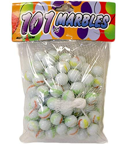 DollarItemDirect 101PC White with Assorted Colors Marbles, Case of 48