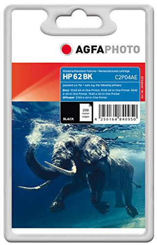 AgfaPhoto APHP62B cartucho de tinta Negro - Cartucho de tinta para impresoras (Tinta a base de pigmentos, Negro, HP, C2P04AE, 200 páginas)